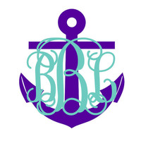 "Personalized Vine Monogram and Anchor Car Decal approx. 5""w x 6""h"
