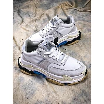 18SS Balenciaga Triple-S Retro Sneaker Silver White Blue Shoes - Sale