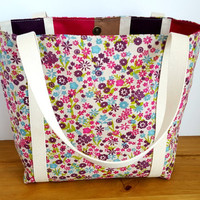 Fabric Bag, Floral Tote Bag, Summer Handbag, Canvas Market Bag, Gift For Mum, Shopping Bag, Lined Grocery Bag, Long Handled Tote with Pocket