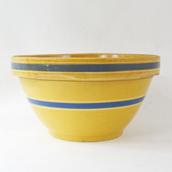 Blue Striped Yellow Ware Bowl, Antique Mixing Bowl, Large 11 Inch Dough Bowl, Primitive Farmhouse, Kitchen Bowl, Stoneware Bowl, Pottery