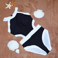 2016 new One Pieces Siamese plus size Swimwears high neck Triangle high waist swimsuit women sexy One Pieces beach bathing suit