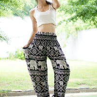 Black Elephant Print Thai Pants, Rayon Pants, Boho Strenchy Pants, Elastic Waist Clothing Beach Women Baggy Casual CB110101