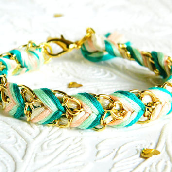 Queen of the Peach Tree - Neutral, Peachy Keen, Mint, & Jade  - Chevron Braided Modern Friendship Bracelet - Gold Chain