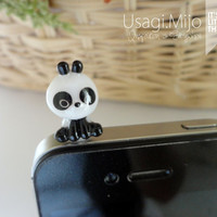 SALE30-70%OFF: Cute Panda iPhone Plug . Dust Plug . Phone Plug . Phone Charm Panda, Kawaii, Lovely, Girly, Black white
