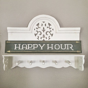 Bar Sign, Happy Hour, Bar Wall Art, Bar Cart Decor, Custom Hand Painted Sign, Wood Word Sign, Wood Wall Sign
