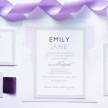 Purple Bat Mitzvah, Quince or Sweet Sixteen Invitation - DEPOSIT