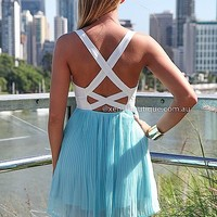 MODERN ROMANCE DRESS , DRESSES, TOPS, BOTTOMS, JACKETS & JUMPERS, ACCESSORIES, 50% OFF SALE, PRE ORDER, NEW ARRIVALS, PLAYSUIT, COLOUR, GIFT VOUCHER,,Blue,CUT OUT,BACKLESS,SLEEVELESS Australia, Queensland, Brisbane