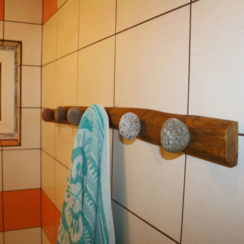 Stone Towel Hook with natural Sea STONES Hardwood Handcrafted gift Wall mounted solid wood coat rack with natural Beach Stones