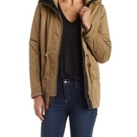 Lt Brown Anorak Jacket with Faux Leather Trim by Charlotte Russe