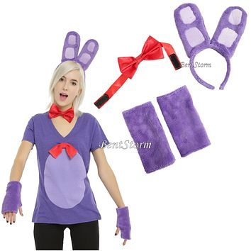 Licensed cool Bonnie Bunny Five Nights at Freddy's Adult Headband Ear Bow Tie Costume KIT ONLY