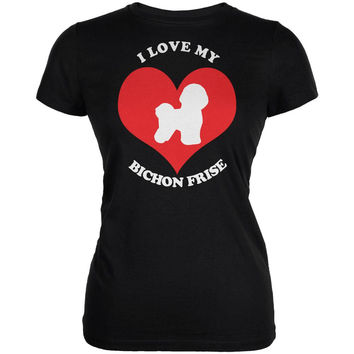 Valentines I Love My Bichon Frise Black Juniors Soft T-Shirt