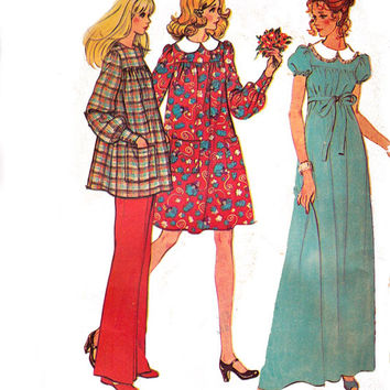 McCall's 3463 Maternity Dress Smock Pants 1970s Vintage Sewing Pattern Size 12 Bust 34
