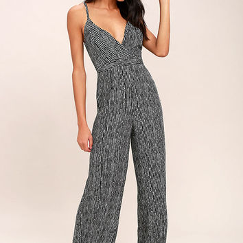 Walk the Line Black and White Striped Jumpsuit