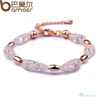 Rose Gold Plated Crystal Chain Bracelet