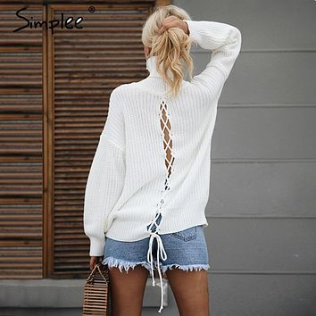 Simplee Sexy lace up knitted turtleneck sweater Women hollow out white long sleeve pullover Autumn winter soft jumper 2017