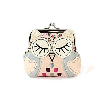 Sleeping Owl Kisslock Coin Purse (Aqua/Purple)