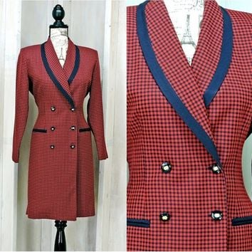 Vintage 80s Houndstooth dress size 7 / 8 /  retro red plaid dress / long blazer jacket / Secretary Career dress  /  Danny & Nicole New York
