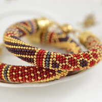 Vinyard - Classic Bead Crochet Bracelet  Beaded Luxury Bracelet Beadwork Bracelet Multi-Colored Colorful Beadwork Jewelry