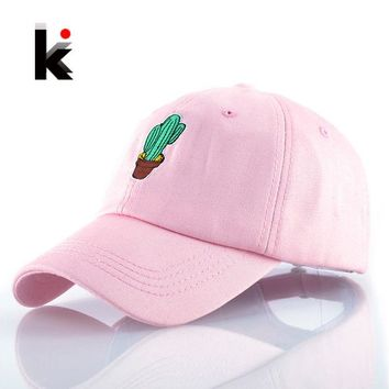 LMFONHS Spring Women's Cap Snapback Pink Cactus Embroidery Dad hat Men's Summer Baseball Caps Hip Hop hats For Girls Casquette Homme