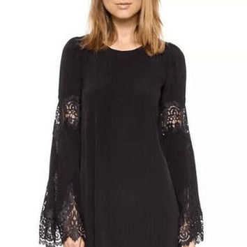 Black Bell Sleeve Lace Mini Dress