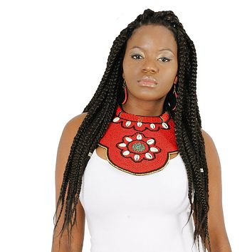 Red Beaded Raised Collar Large Bib Necklace Set with Cowrie Shell and Turquoise Mosaic Detail