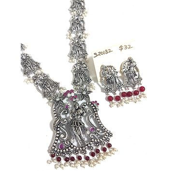 Tribal dancing girl unique medium length chain Necklace and stud Earring set