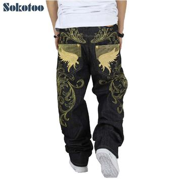 Sokotoo Men's hiphop jeans loose plus size embroidery wings denim pants male large size hip hop long trousers Free shipping