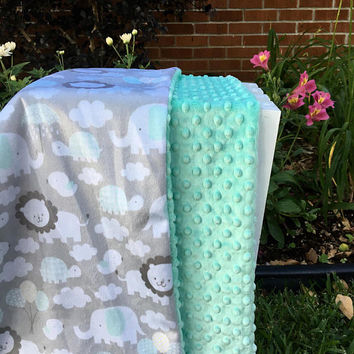 Personalized Baby Blanket,Minky Baby Blanket,Gender Neutral,Mint Green Minky Dot,Baby Gift,Monogrammed Blanket,Gray Minky,Elephant Prints