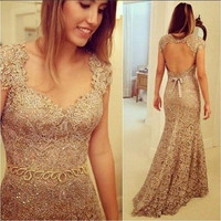 Luxury Lace Champagne Prom Dresses Mermaid 2017 Backless Robe De Bal Cap Sleeve Evening Gowns Long Graduation Party Dress