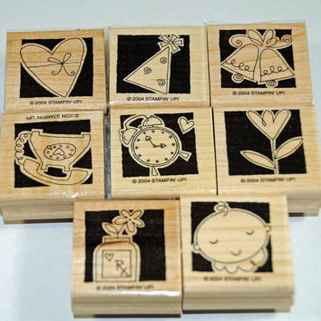 "Stampin Up Stamp Set ""Occasionally"" Rubber Stamps Reverse Silhouette Stamps for Year Round Occasions"