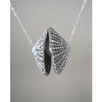 Silver Seashell Pendant with White Freshwater Pearl Necklace for a Mermaid