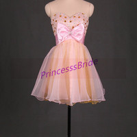 2014 short pink and gold tulle prom dress with bow,cute rhinestones gowns for cocktail party,chic cheap homecoming dresses hot.