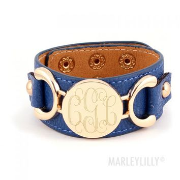 Monogrammed Leather Cuff Bracelet | Marley Lilly