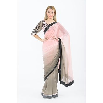 Kendall Gray & Pink Ombre Ready-Made Pre-Pleated Sari