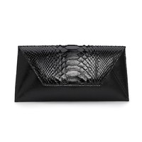 Small Sona Python Clutch - Black