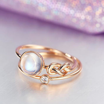 Unique Engagement Ring set Rose Gold Moonstone Wedding Women Bridal Jewelry Love knot Stacking simple Delicate Diamond ring anniversary gift