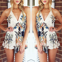 Print Summer Spaghetti Strap Backless Sexy Romper One Piece Dress [4970289988]