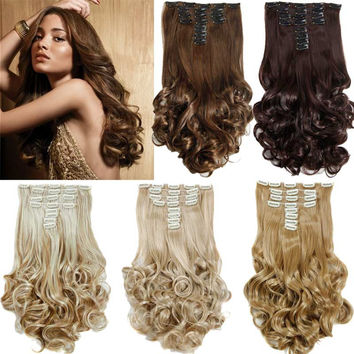 """False Hair Extensions Synthetic Hair with Clip 8pcs 18 Clips in Hair Extension 20"""" Long Curly  Hairpiece Heat Resistant Hair"""