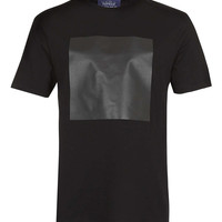 BLACK LEATHER LOOK SQUARE T-SHIRT - New This Week - New In - TOPMAN USA