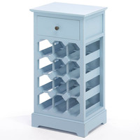 Blue Wood Wine Cabinet with Drawer