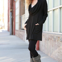 Adaline Cowl Neck Tunic with buttons on the back: Black
