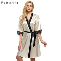 Ekouaer Women's Kimono Robe Knee Length Bathrobe Lingerie Sleepwear Short Satin Lace Nightwear Bridesmaid Robes XS-XL