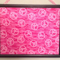 Bulletin board photo jewelry organizer holder upcycled children teen playroom decor gift zebra camouflage peace sign hot light pink black