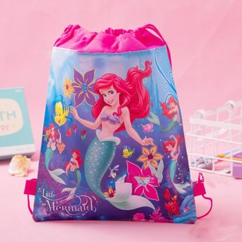 1 Pcs Lovely Little Mermaid cartoon non-woven fabrics drawstring backpack schoolbag shopping Gift travel bag