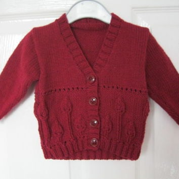 RED Hand Knitted Cardigan for 0 - 6 months (kids baby present girls new born