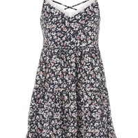 Cross Back Lace Neckline Floral Dress - Multi
