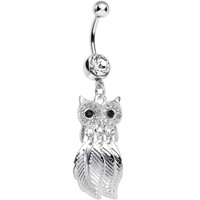 Clear Gem Majestic Owl Leaves Dangle Belly Ring | Body Candy Body Jewelry