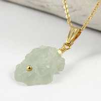 MARCH BIRTHSTONE - Raw Aquamarine Pendant Necklace on 14K Gold Filled - Irregular Shape Rough Aquamarine - Rough Gemstone Jewelry