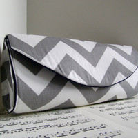 White and grey chevron clutch purse Spring fashion by toriska