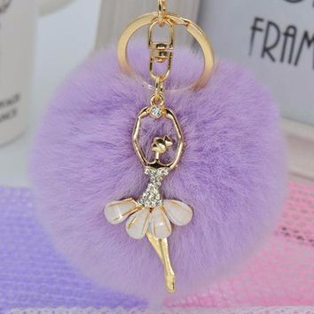 Chic Light Purple Faux Rabbit Fur Pom Pom with Pink Crystal Balerina Charm Key Fob Keychain Gold Tone